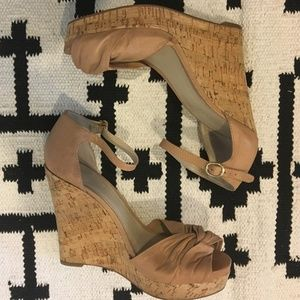 Nine West nude cork wedges